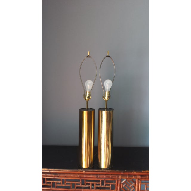 Brass Style Cylinder Table Lamps After Kovacs - 2 - Image 6 of 7