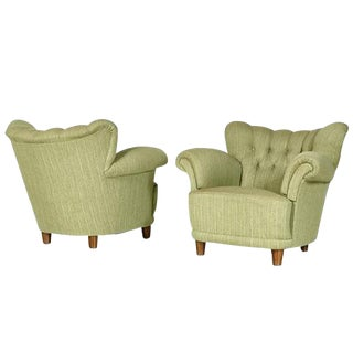 1940s Scandinavian Tufted Lounge Chairs - A Pair