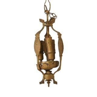 Antique Figural Bronze Three-Light Chandelier