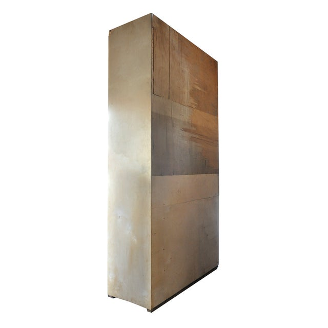Image of Tall Blonde Wood Cabinet