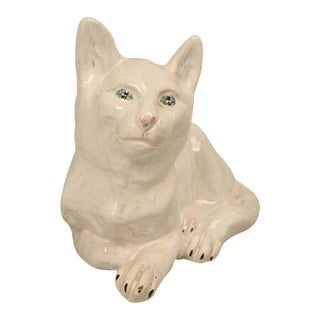 French Pottery Cat Sculpture from Normandy
