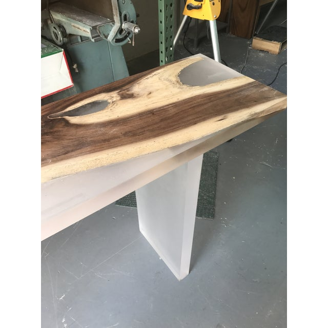 Image of Acrylic Wood Console Table
