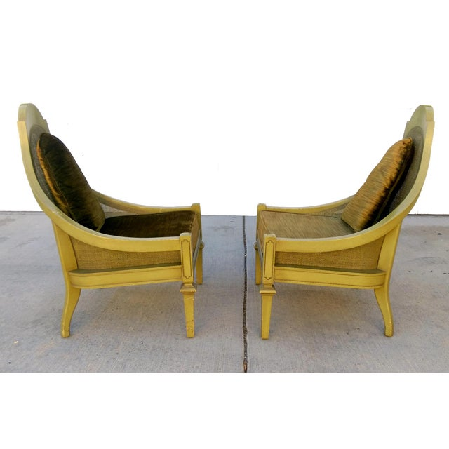 Image of Mid-Century Green Cane Slipper Chairs - A Pair