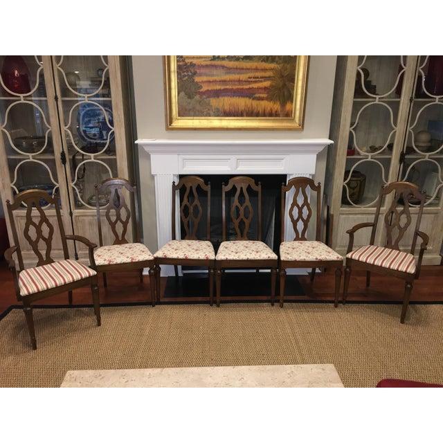 Lenoir Broyhill Vintage Pecan Chairs - Set of 6 - Image 2 of 11