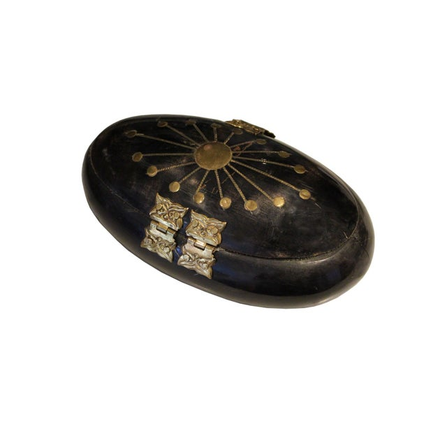 Antique Black and Brass Box - Image 3 of 4