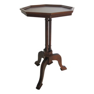 Vintage Octagonal Wood Pedestal Table