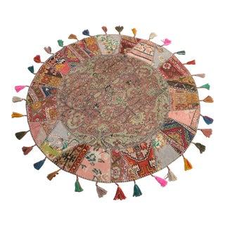 """Turkish Handmade Patchwork Area Rug - Round - 5'2"""" x 5'2"""""""