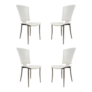 Contemporary Bent Chrome & Leather Dining Chairs - Set of 4
