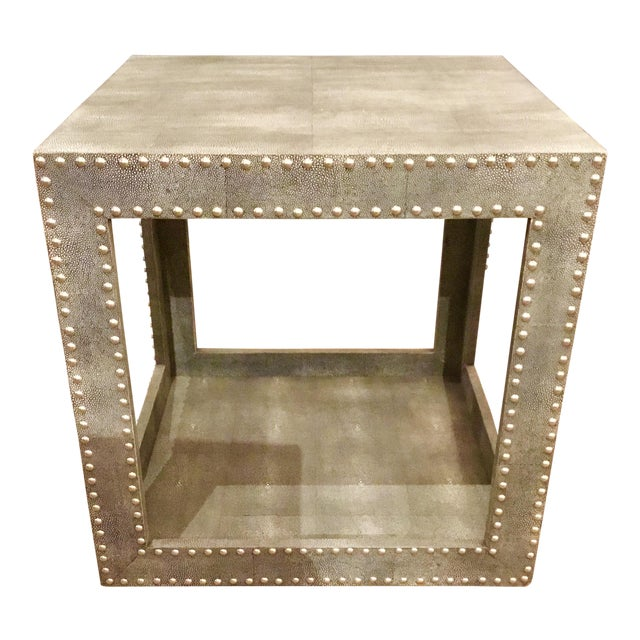 Regina Andrews Feaux Python Studded Accent Cube Table - Image 2 of 9