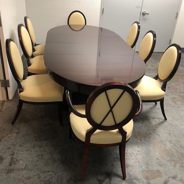 Barbara Barry Oval Dining Table & 8 Chairs for Baker - Set of 9 - Image 3 of 8