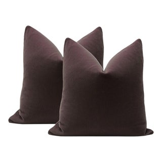 "22"" Mohair Velvet Pillows in Eggplant - A Pair"