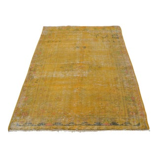Faded Yellow Oushak Wool Carpet - 4′6″ × 6′7″