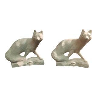 Vintage Ceramic White Foxes - Pair