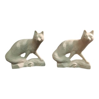 Vintage Ceramic White Foxes - Pair
