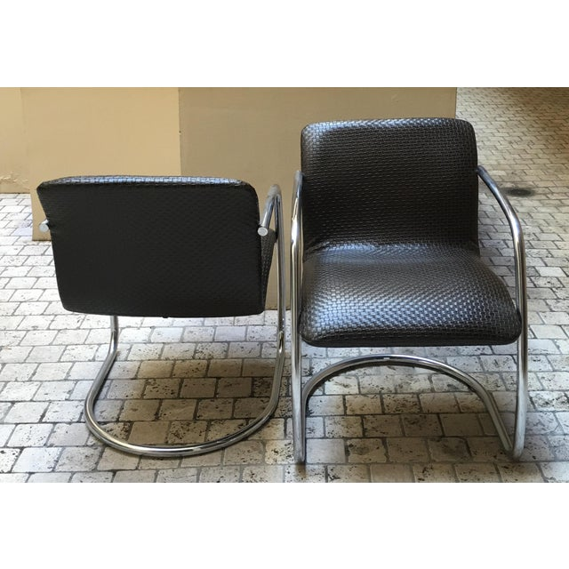 Mid Century Chrome Basket Weave Chair - Pair - Image 4 of 8
