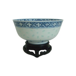 Blue & White Chinese Rice Bowl With Stand