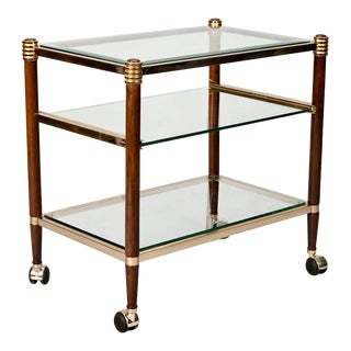 Italian 3 Tier Brass, Glass & Wood Bar Cart Trolley