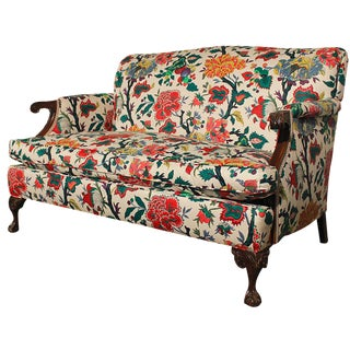 Antique English Club Style Floral Loveseat