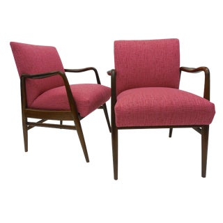 Mid-Century Raspberry Upholstered Chairs - A Pair