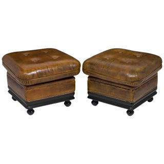 Vintage French Leather Ottomans- A Pair