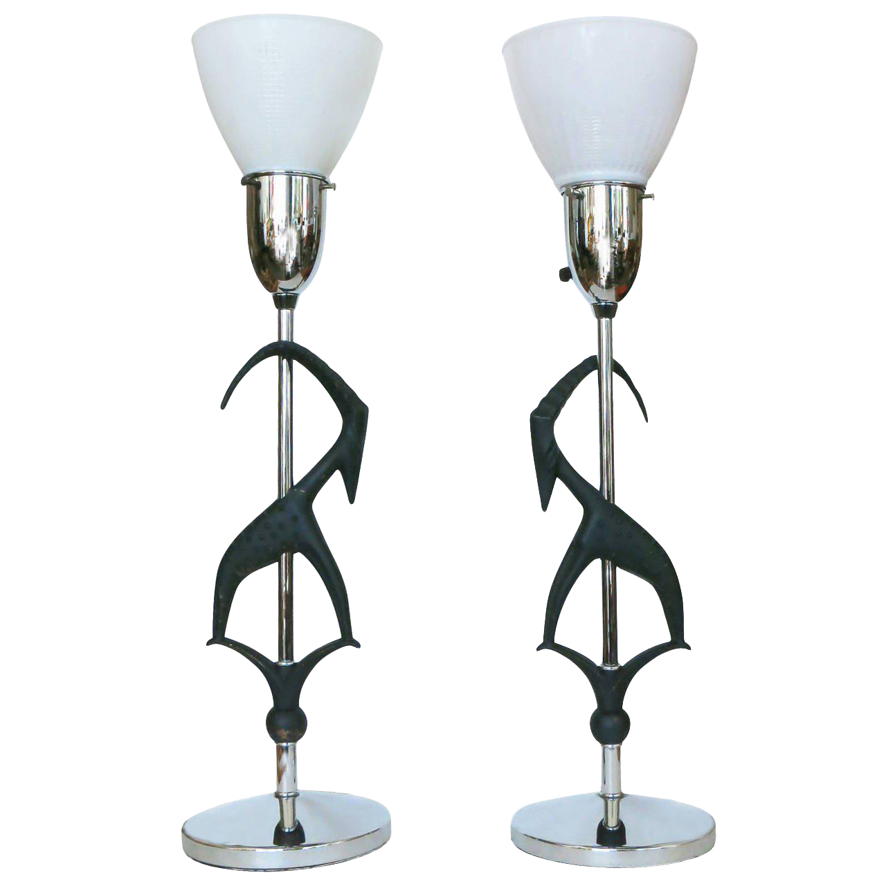 Good Mid Century Gazelle Table Lamps, Pair By Rembrandt   Image 1 Of 8
