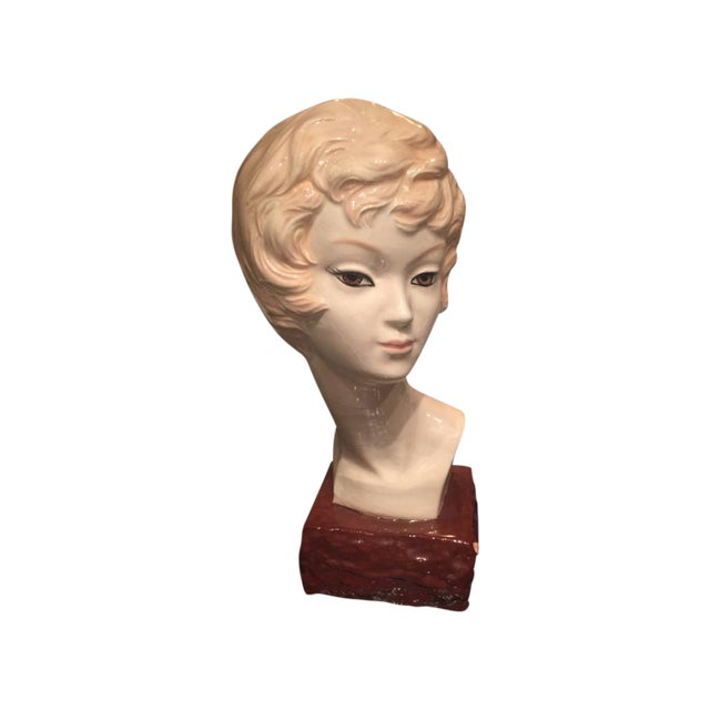 Image of Mid-Century Ceramic Woman Bust