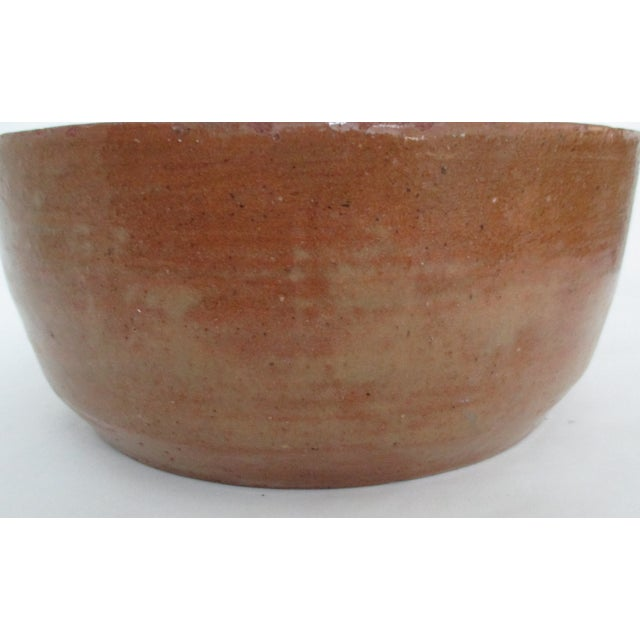 Image of Vintage Hand Thrown Pottery Bowl Tan and Sienna