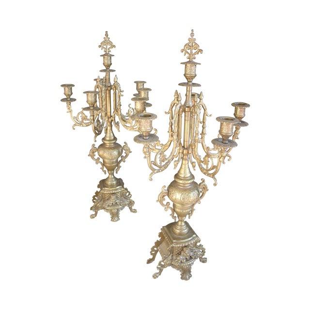 Baroque Italian Bronze Candelabras - A Pair - Image 1 of 10