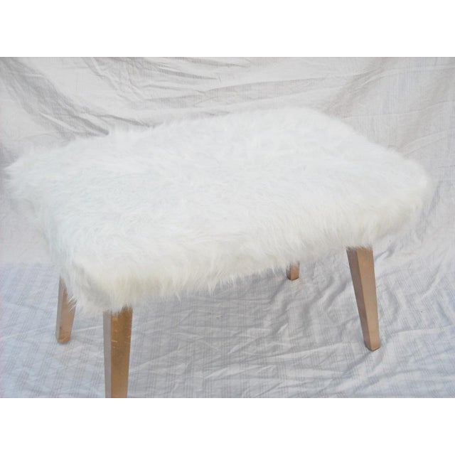 White Faux Fur Ottoman - Image 5 of 6 - White Faux Fur Ottoman Chairish
