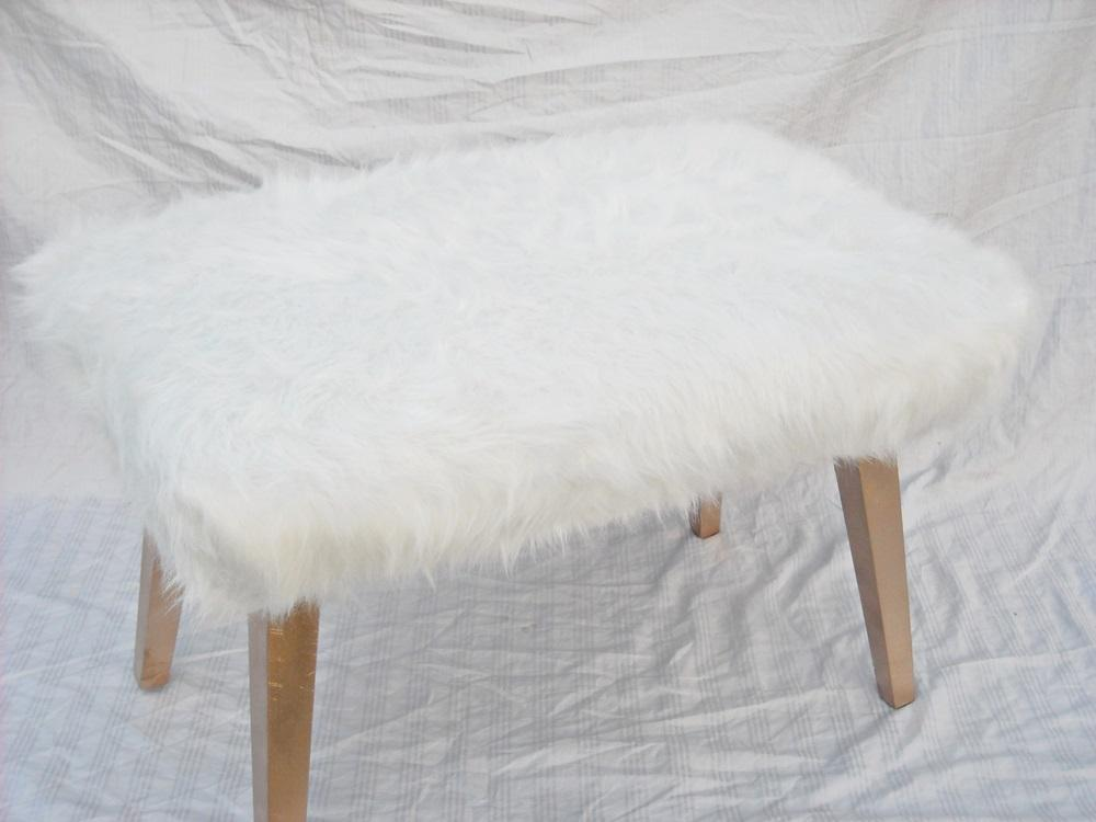 image of white faux fur ottoman white faux fur ottoman chairish
