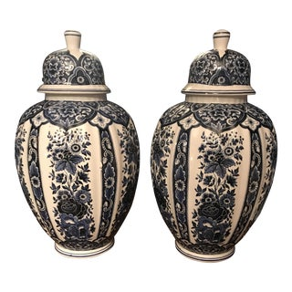 Ceramiche Artistiche Blue White Ginger Jars - A Pair