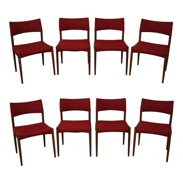 Image of Vintage Danish Modern Teak Dining Chairs - Set of 8