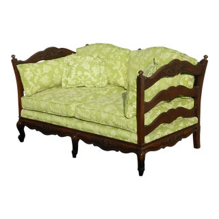 French Country Carved Wood Settee /Loveseat With Green Floral Fabric