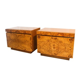 Milo Baughman For Lane Olive Burlwood Nightstands - A Pair