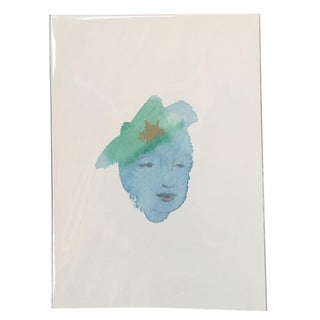 Face With Hat Watercolor Blue Painting