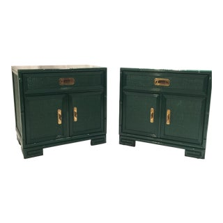 Drexel Lacquered Faux Bamboo Greek Key Cabinets - Pair