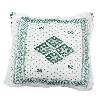 White & Green Moroccan Wedding Pillow