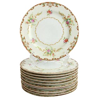 1940s Floral Bread Plates - Set of 11