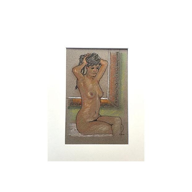 Image of Pastel Drawing of Seated Nude by Window