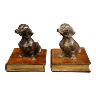 French Bookends With Dogs Sitting on Books - a Pair