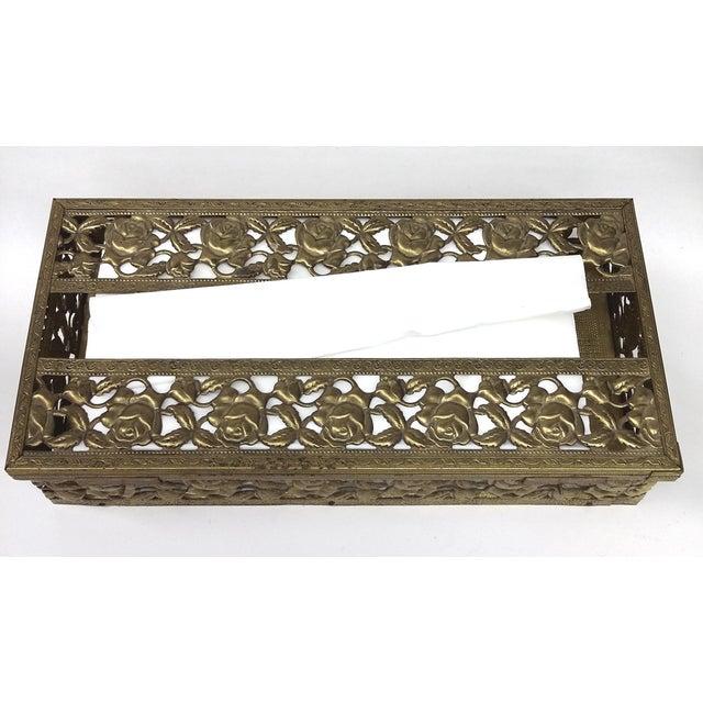 Antique Carved Bronze Metal Tissue Holder - Image 4 of 10