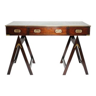 Campaign Style Desk on Sawhorse Legs: Desirable Leather Top