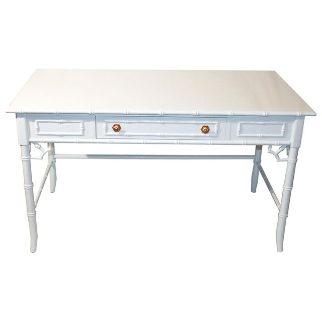 Thomasville Vintage Faux-Bamboo White Desk - Image 1 of 9