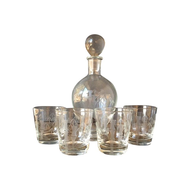 Image of Mid-Century Bamboo Etching Decanter & Glass Set