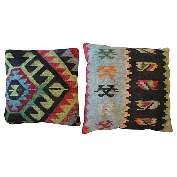 Vintage Kilim Accent Pillows - A Pair - Image 1 of 5