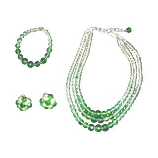 Germany Clear & Green Beaded Jewelry Set