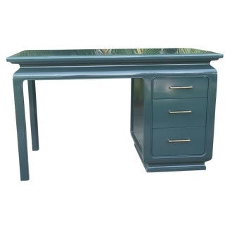 Vintage Ming-Style Dark Green Lacquered Desk