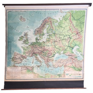 Antique Canvas Pull Down Wall Map of Europe