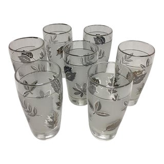 Mid-Century Libbey Silver Leaf & Wheat Glasses - Set of 7