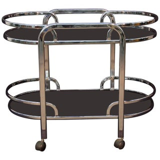 Chrome Art Deco Style Bar Cart